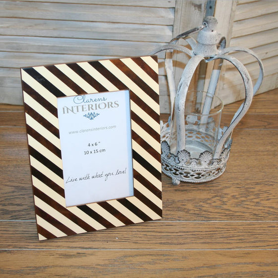 Brown Stripe Photo frame - 4 x 6