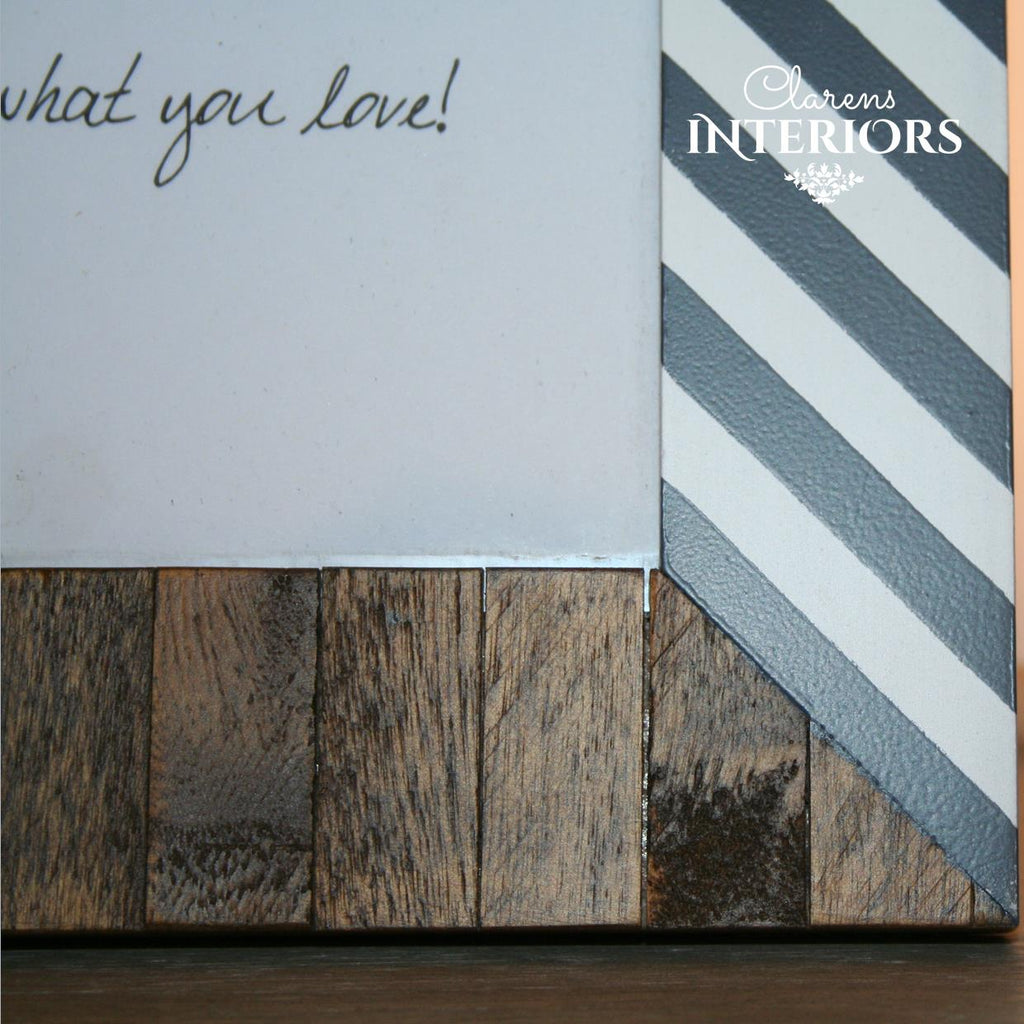 Wood / Grey Stripe Photo frame - 5 x 7