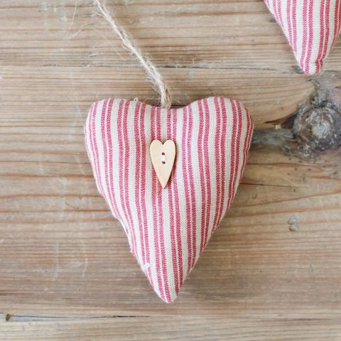 BEIGE & RED STRIPE TEXTILE HEART