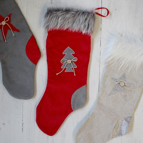 RED/GREY FABRIC STOCKING