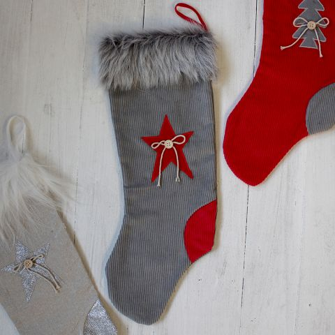 GREY/RED FABRIC STOCKING