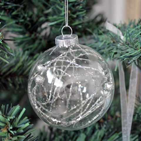 ANTIQUE SILVER SPARKLE BALL, TREE DECORATION