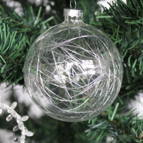 SILVER STRING FILLED GLASS BAUBLE, LARGE