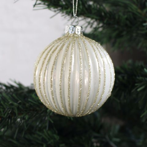 STRIPED VINTAGE GLASS BAUBLE, WHITE & GOLD