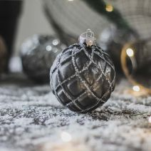 GREY GLITTER BAUBLE