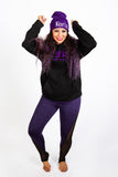 Purple Hat Black Hoodie Purple Leggings