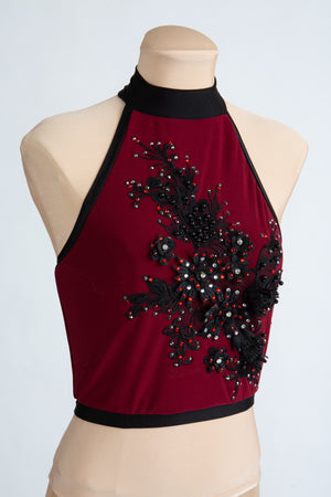 Maroon Crop Top with Swarovski Crystals