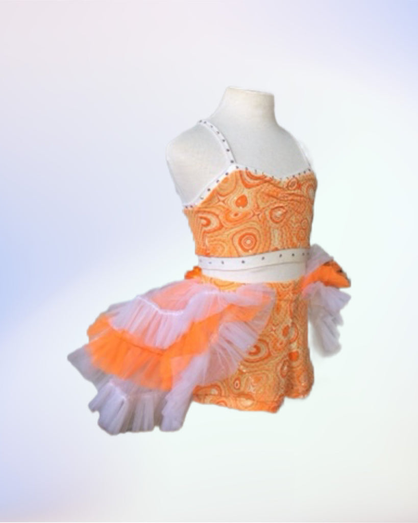 Orange Swirl Crop Top & Back Skirt Set