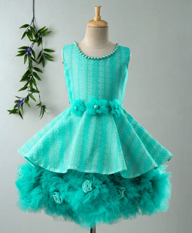 Ravishing Party Wear Sleeveless Frock With Flower Corsage & Pearl Neckline