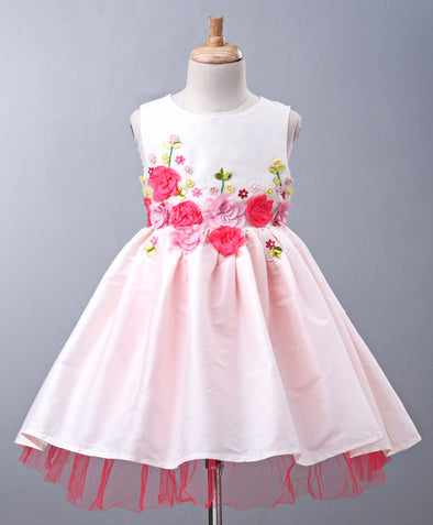 Impressive Sleeveless Flower Applique Dress