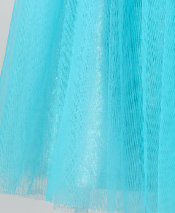 Glowing Short Sleeves Mermaid Neck Detailed Flared Glitter Finish Gown