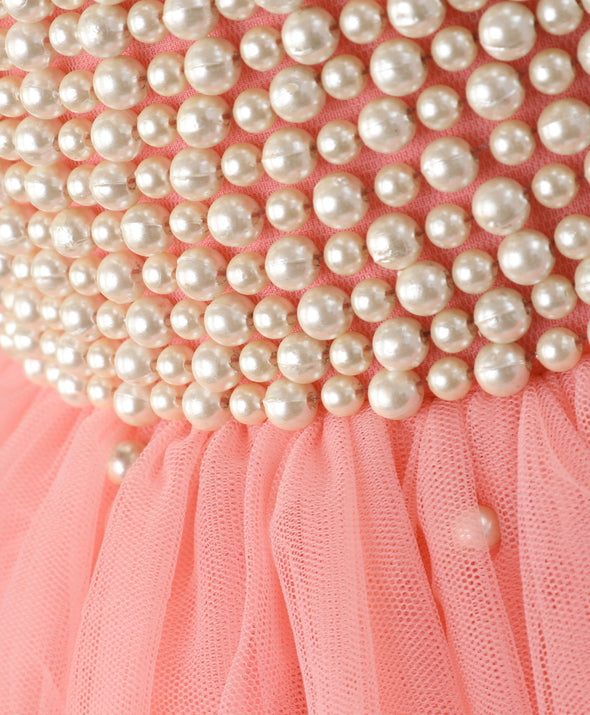 Admiring Sleeveless Pearl Embellished Ruffle Detailing Dress