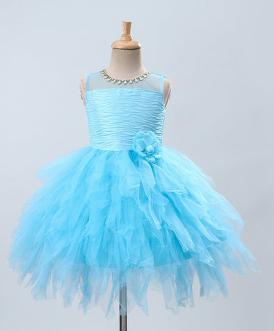 Innovative Pearl Yoke Detailing Sleeveless Tulle Flared Layered Dress
