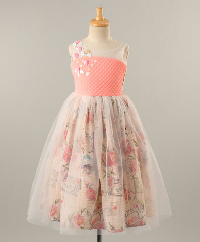 Delightful Sleeveless Flower Print Gown