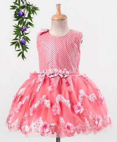 Exceptional Sequined Flower Applique Sleeveless Fit & Flare Dress
