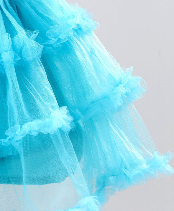Attractive Sequined Cap Sleeves Tulle Flare Dress