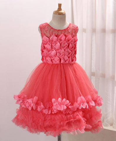 Beautiful Sleeveless Layered Frock with Designer Bodice