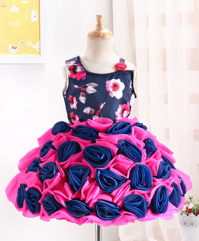 Captivating Rose Flower Applique Sleeveless Designer Party Dress
