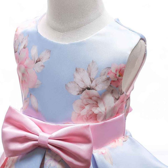 Imposing Floral Print Bow Applique Sleeveless Pink Party Dress