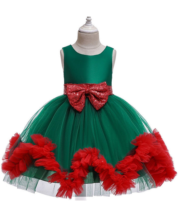 Elegant Girls Dress Kids Backless Sequin Bow Tutu Mesh Girl Princess Dresses