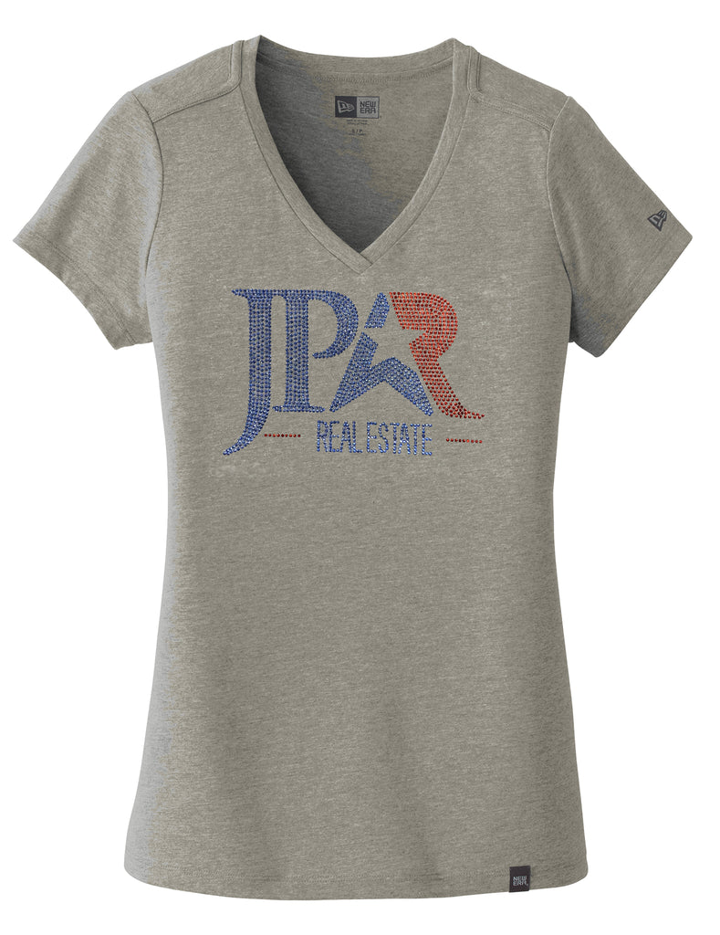 women's grey v-neck t-shirt with short sleeves and Jpar logo in red and blue bling