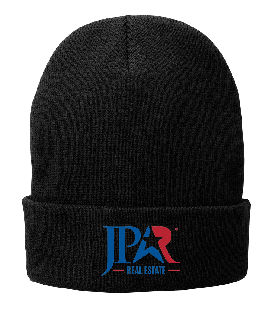 Black cuffed beanie with red and blue JPAR logo in embroidery