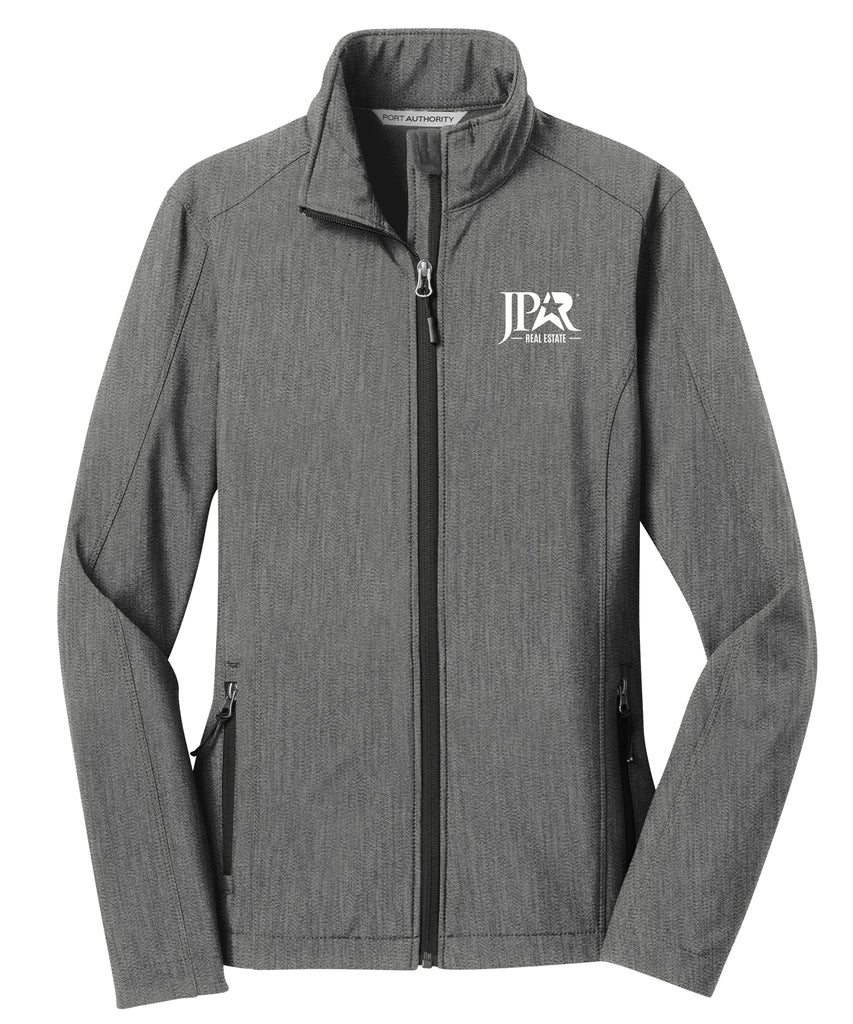 grey zip up soft shell jacket with white JPAR logo in embroidery