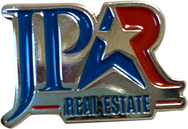 enamel silver pin with red and blue JPAR Real Estate logo