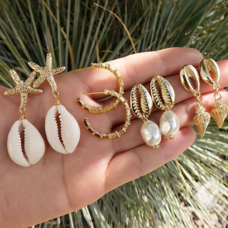 Starfish + Shells Earring Set