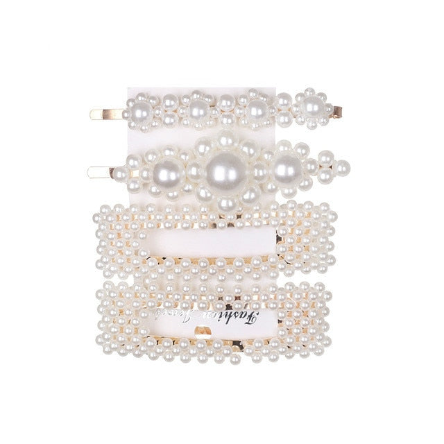 Pretty Pearl Barrettes Set