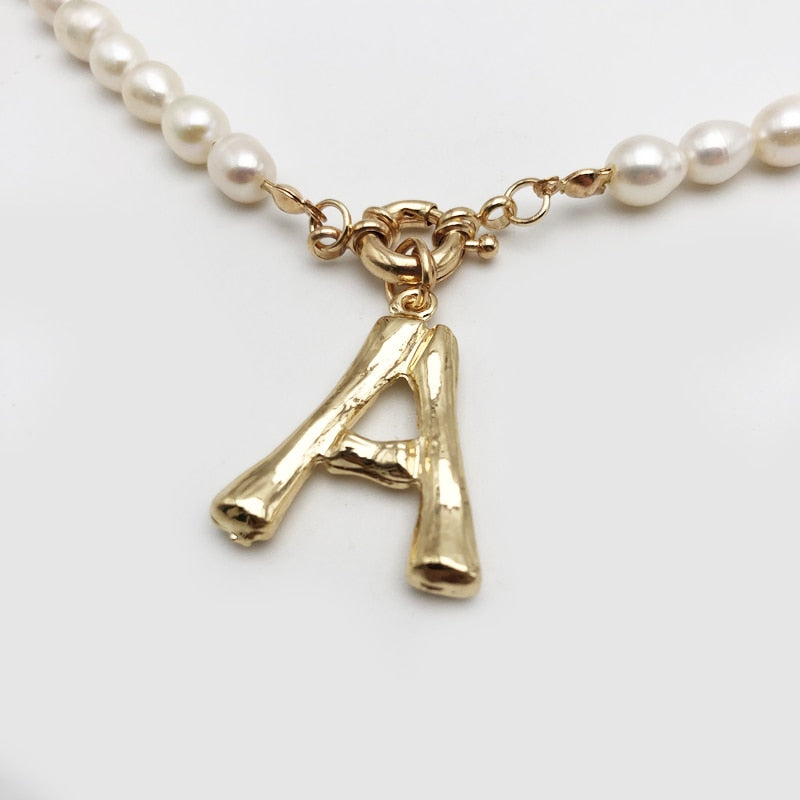 Cute Letter Pearl Necklace