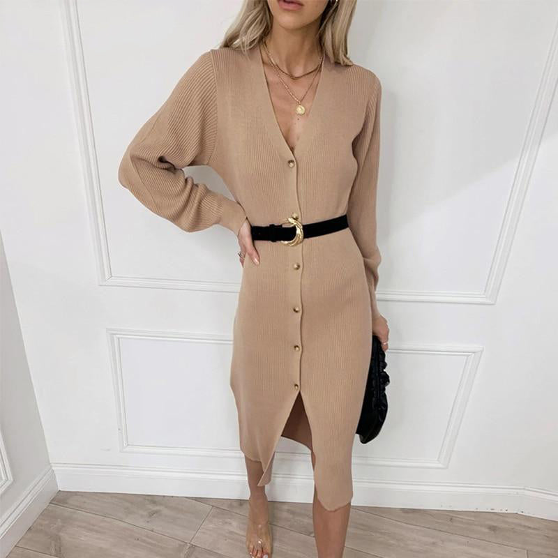 Button-Front Sweater Dress