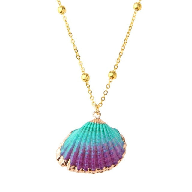 Electric Shell Pendant Necklace