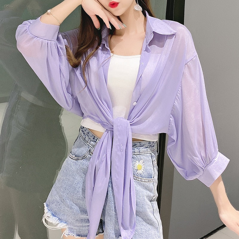 Sheer Oversized Blouse