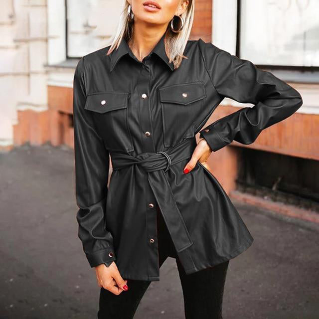 Vegan Leather Utility Shirt