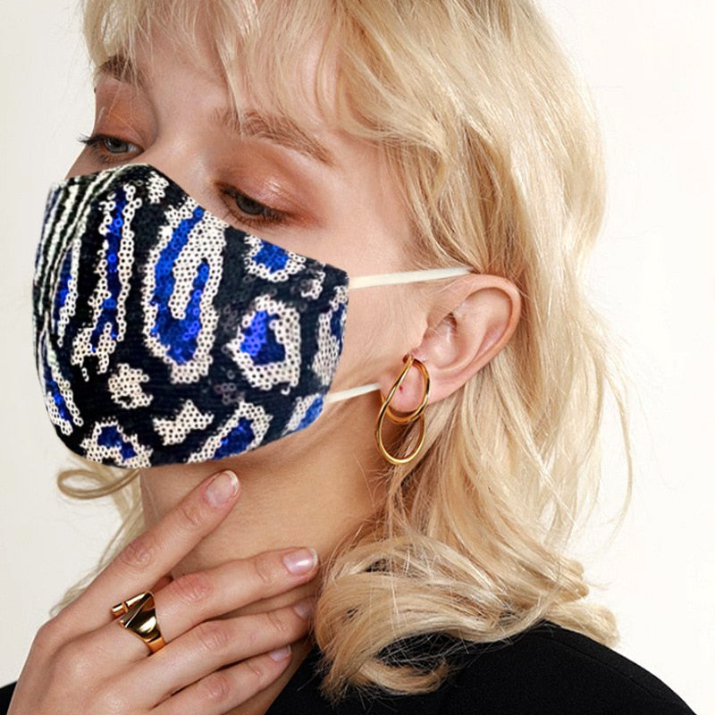 Leopard Sequin Mask