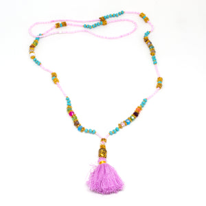 Pink, turquoise with small buddha and pink tassel Vackra Smycken