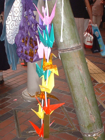 Paper cranes, orizuru, for Tanabata Festival in Japan
