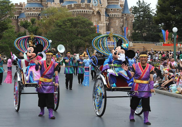 Mickey and Minnie in Disneyland Japan during the Tanabata Festival