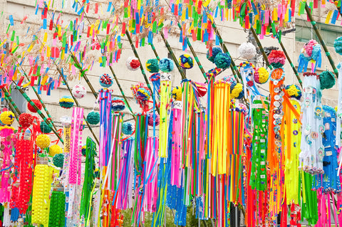Colorful Decorations outside during Tanabata Festival in Japan