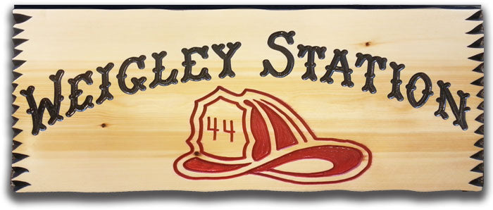 Calico Wood Signs - Fire Hat