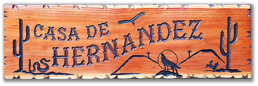 Calico Wood Signs - desert coyote cactus wood sign