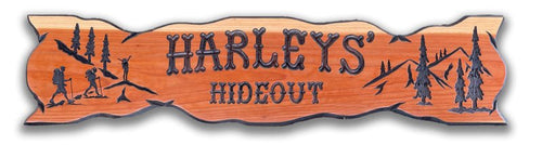 Hand carved wood sign