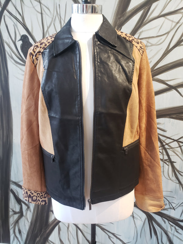 Faux Suede Jacket - Zipper Front