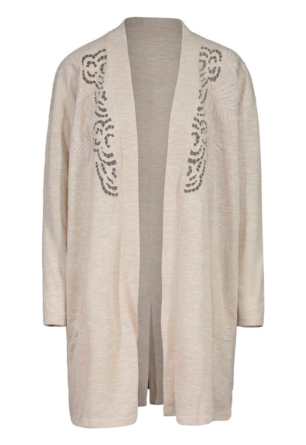 Open Front Embrodered Cardigan
