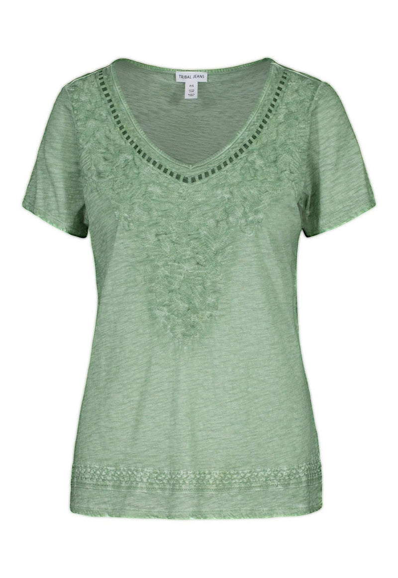 Linen Lace V Neck T Shirt