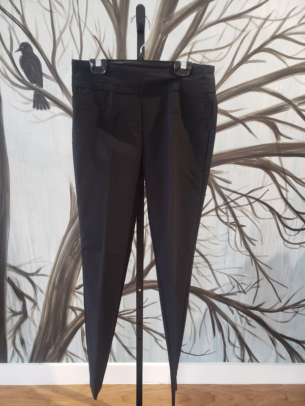 Black Pant with Faux Leather Trim