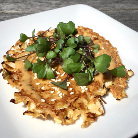 cabbage fritter with red cabbage microgreens
