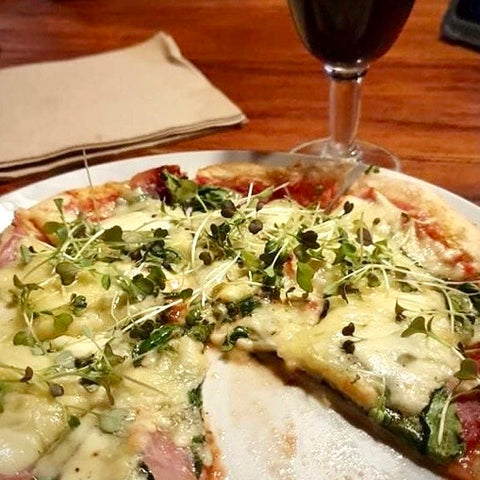 Pizza with microgreens