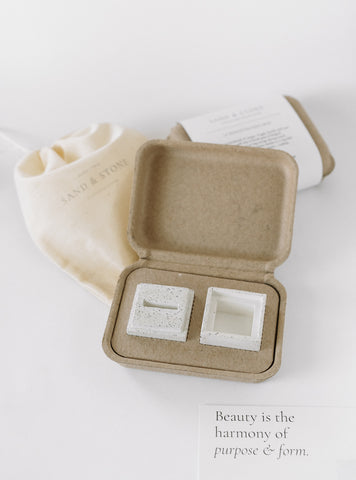 Sand and Stone   Handmade Concerete Ring Box   Ring Boxes for Flat Lay Styling